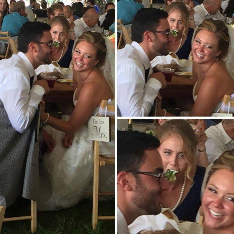 someone angrily eating salad behind a newly wed couple