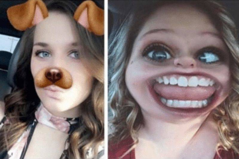 two girls with different snapchat filters on their face