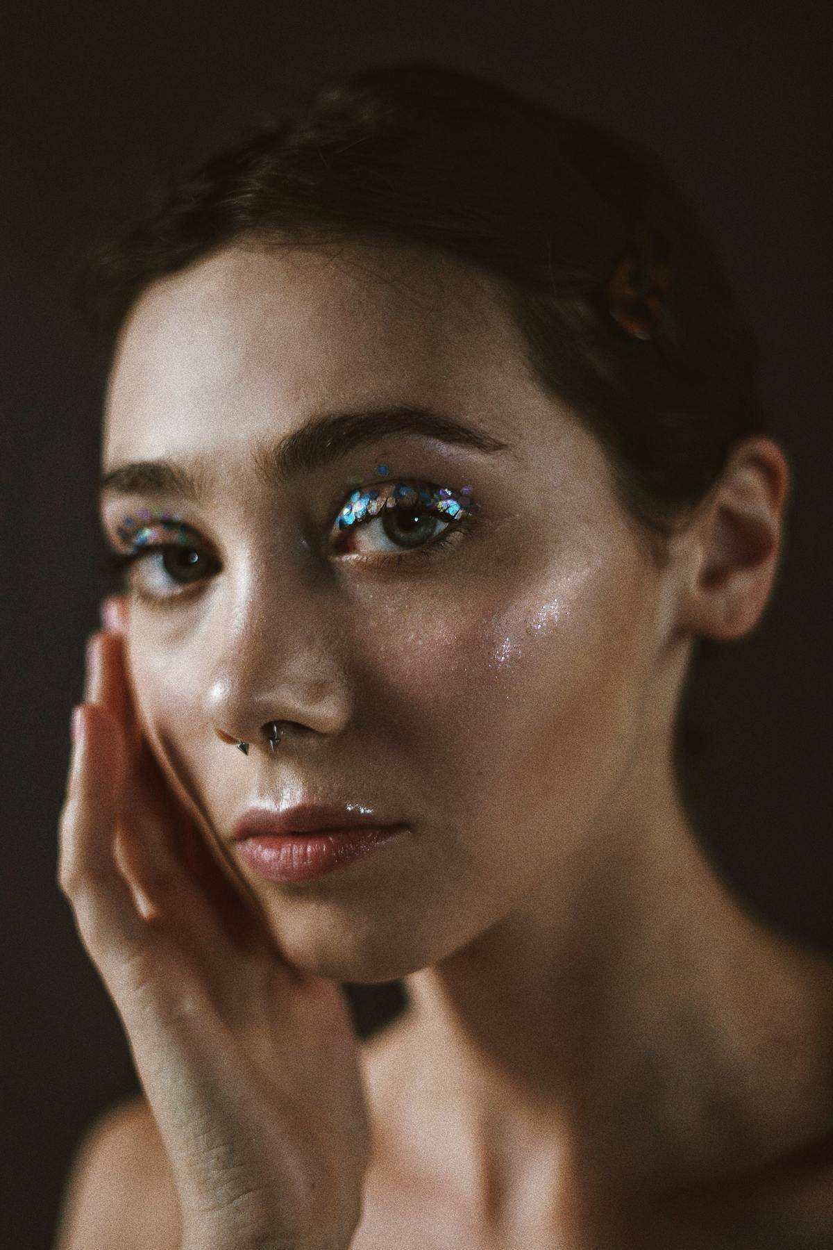 woman with sparkling eye makeup