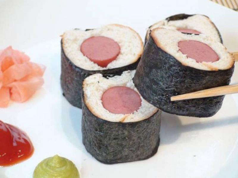 someone made sushi out of hot dogs