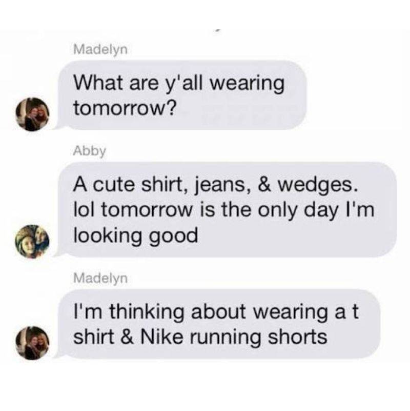 girls texting each other about what to wear