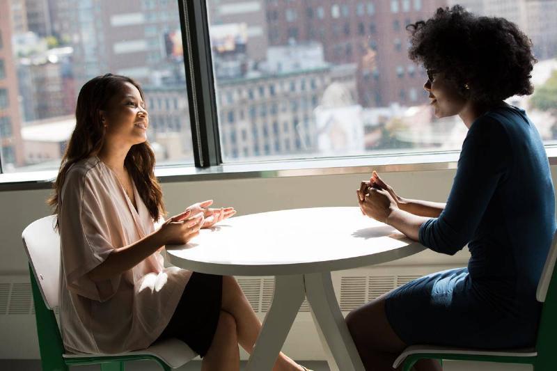 two friends having a talk