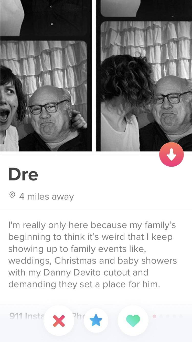 Tinder Profile: I'm really only here because my family's beginning to think it's weird that I keep showing up to family events like, weddings, Christmas and baby showers with my Danny Devito cutout and demanding they set a place for him