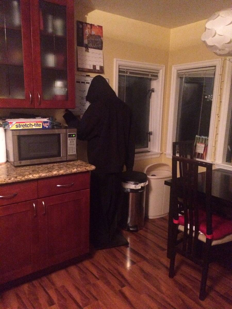 roommate put a mannequin up in the kitchen