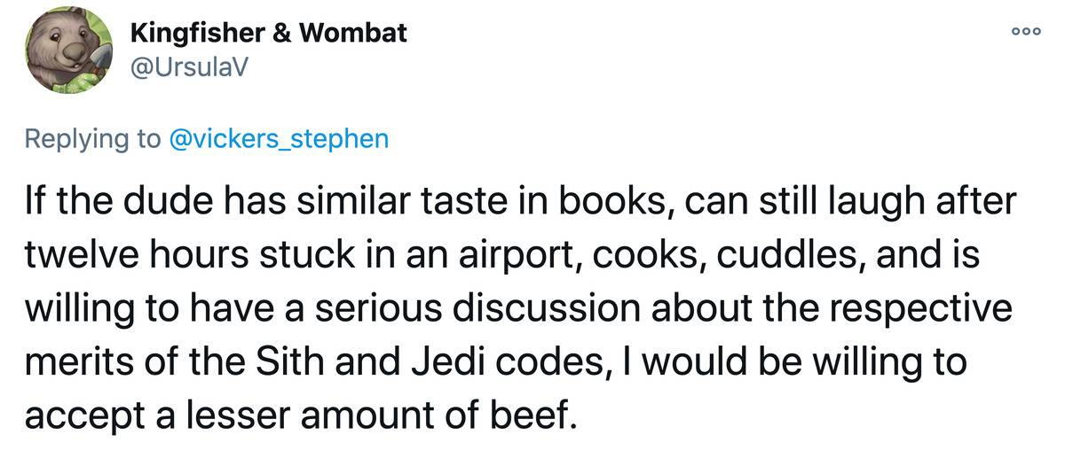 Tweet: If the dude has a similar taste in books, can still laugh after twelve hours stuck in an airport, cooks, cuddles, and is willing to have serious discussions about the respective merits of the Sith and Jedi codes, I would be willing to accept a lesser amount of beef