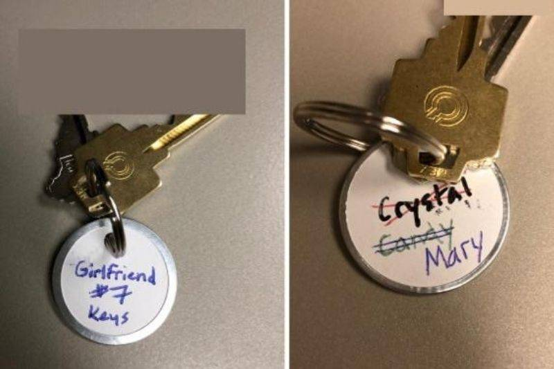 a key ring that says