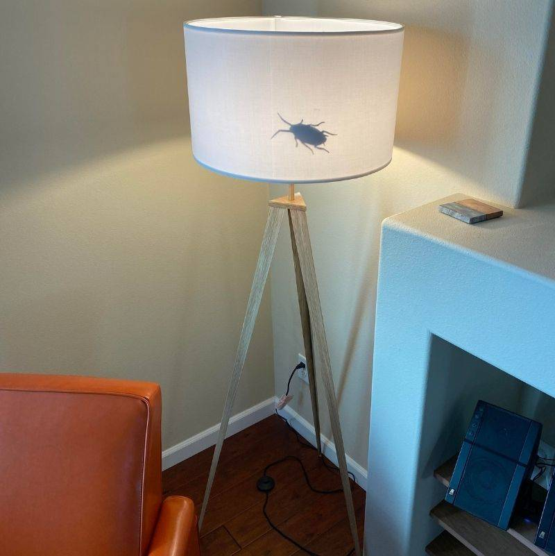 roommate printed out a bug and put it in the lampshade