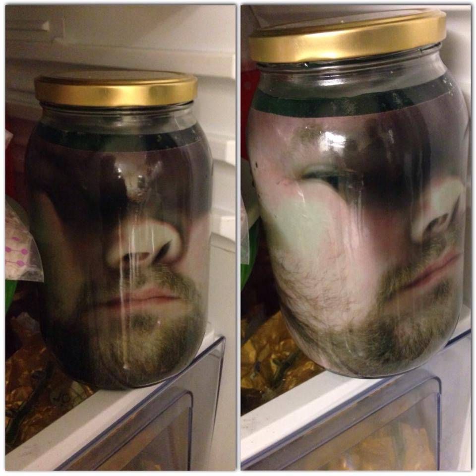 boyfriend printed off pictures of his smushed face in jars and put them in the fridge
