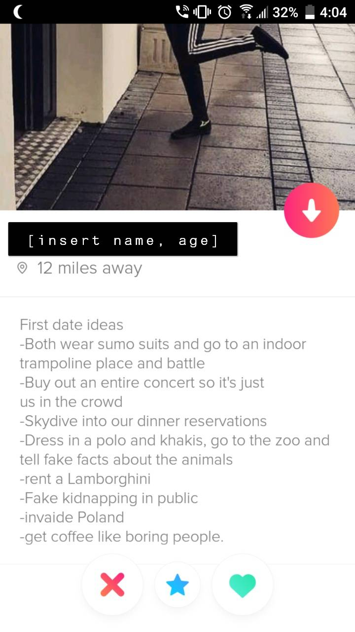 Tinder Profile: First date ideas: both wear sumo suits and go to an indoor trampoline place and battle, but out an entire concert so it's just us in the crowd, skydive into our dinner reservations, dress in a polo and khakis, go to the zoo and tell fake facts about the animals, rent a Lamborghini, fake kidnapping in public, invade Poland, get coffee like boring people