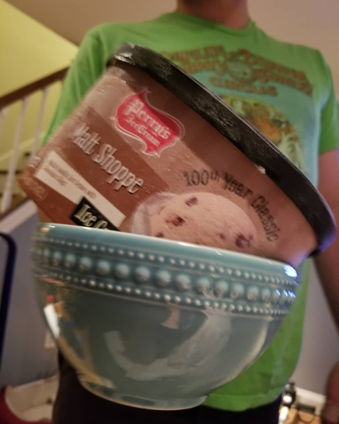 boyfriend brought the ice cream container in a bowl