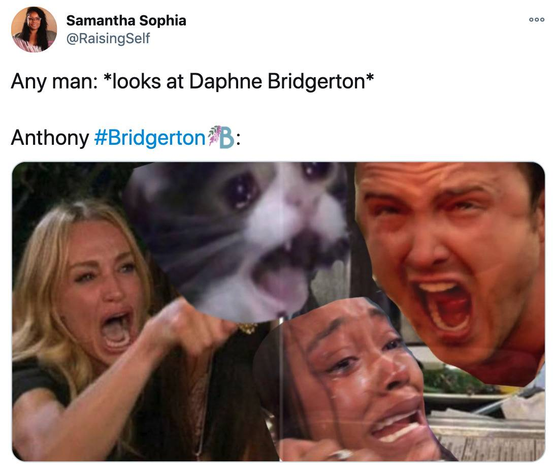 Tweet: Any man: Looks at Daphne Bridgerton. Anthony Bridgerton: (pictured is a bunch of people screaming)
