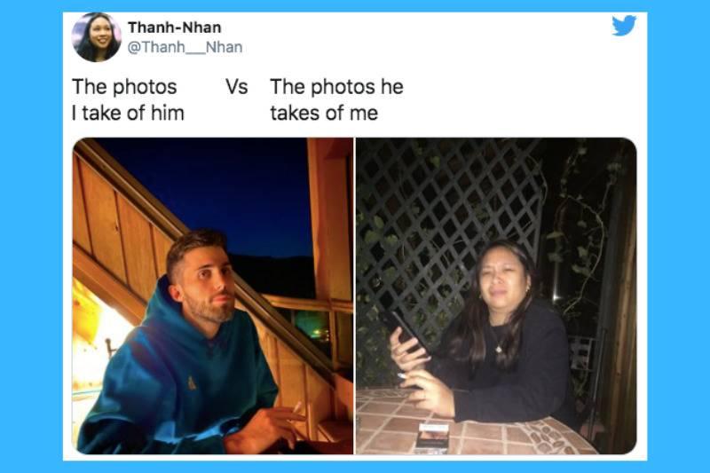 man at restaurant vs frowning woman