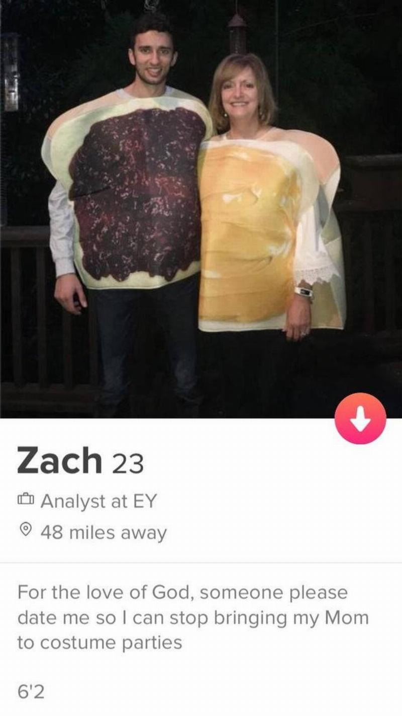 Tinder Profile: For the love of God, someone please date me so I can stop brining my mom to costume parties