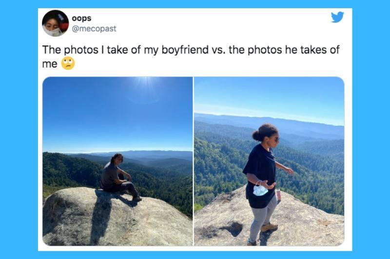 man on cliff vs woman