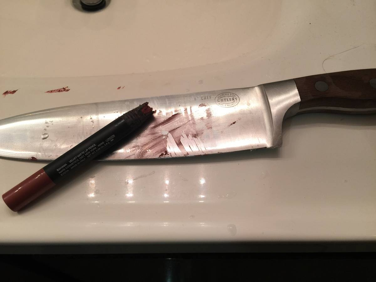 someone tried sharpening lipstick with a butcher's knife
