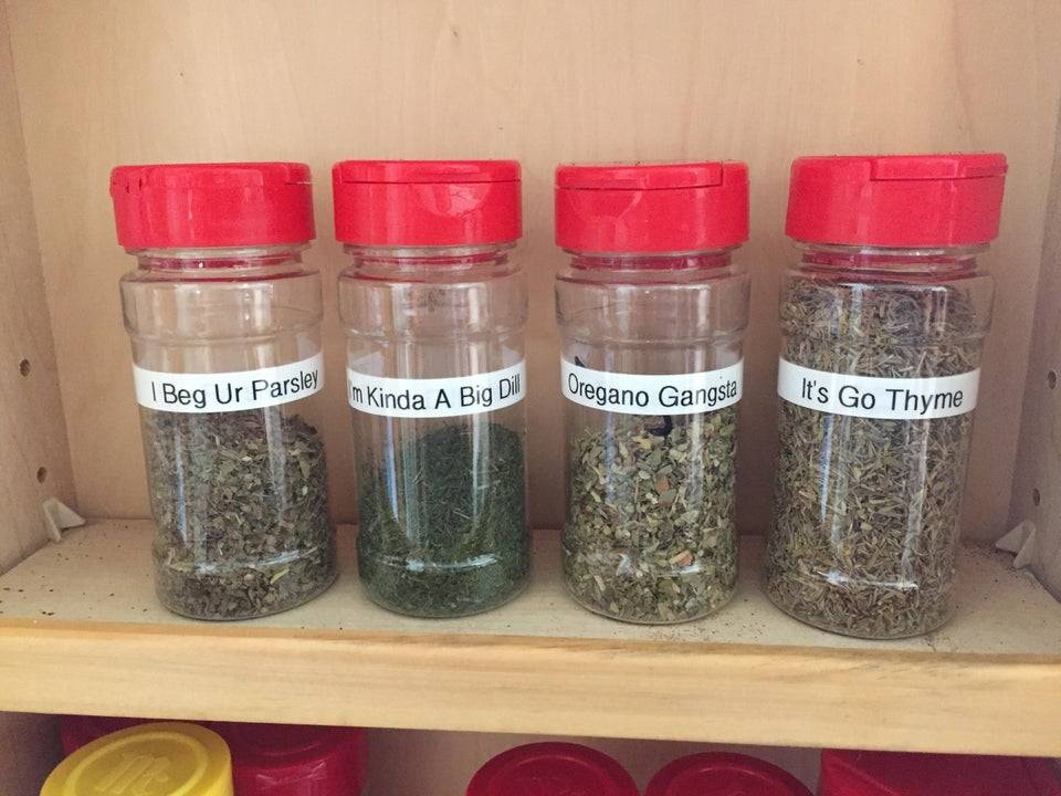spices with labels that say,