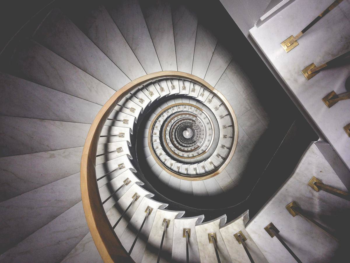 spiral staircase photographed from above