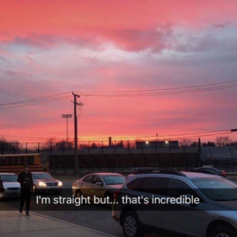 someone sending a snap of a sunset with the caption,