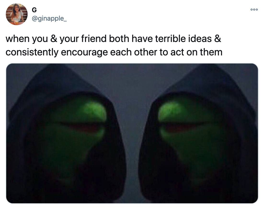 Tweet: When you and your friend both have terribly ideas and consistently encourage each other to act on them