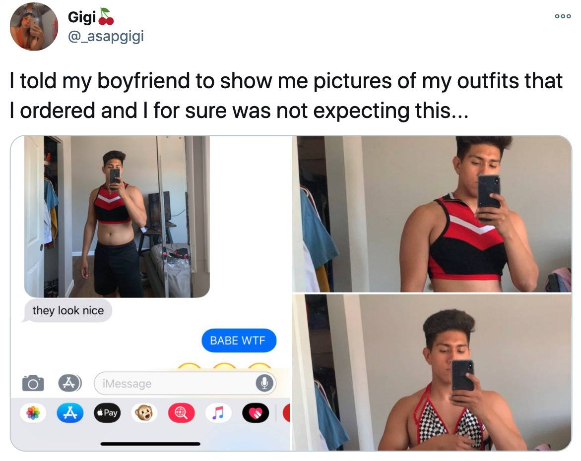 Tweet: I told my boyfriend to show me pictures of my outfits that I ordered and I was not expecting this... (pictured is her boyfriend wearing her new crop tops)