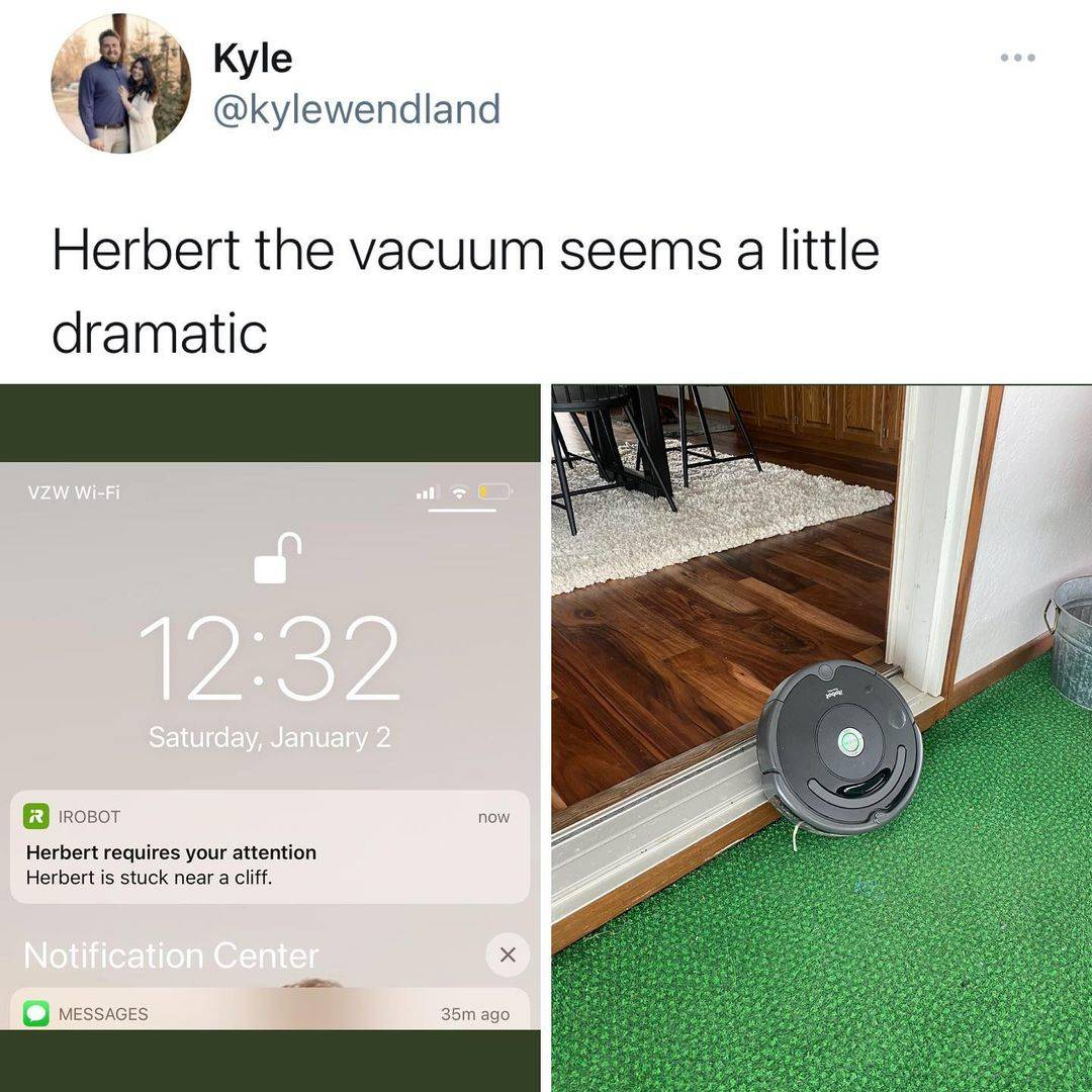 a robot vacuum sent a message to a person's phone saying they are falling off a cliff