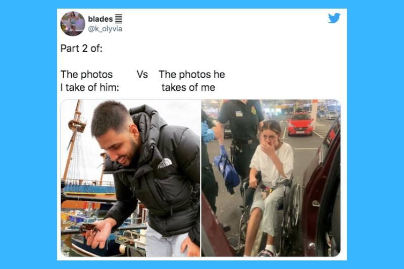 woman in wheelchair vs man by boat smiling