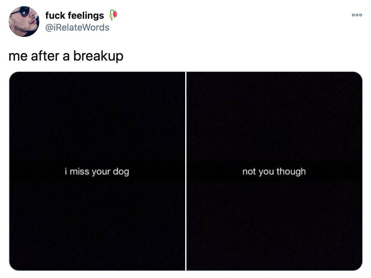 me after a breakup (screenshots of two snapchats that say: