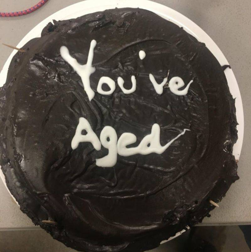 a cake that says,