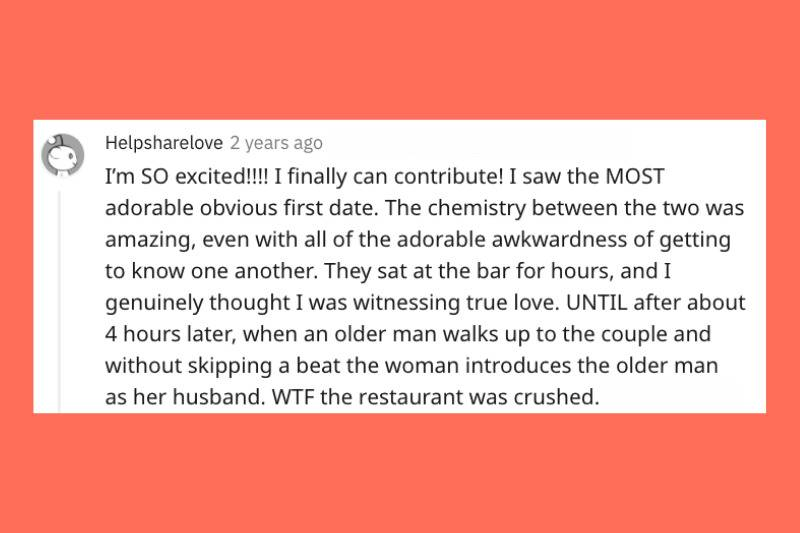 waiter watched adorable first date unfold that ended in woman's husband showing up