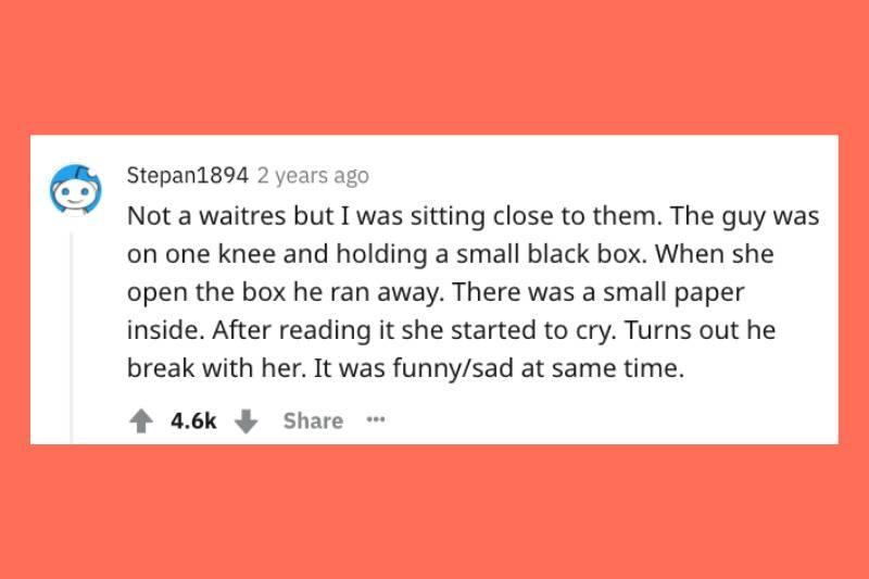 breaking up with ring box with a note inside