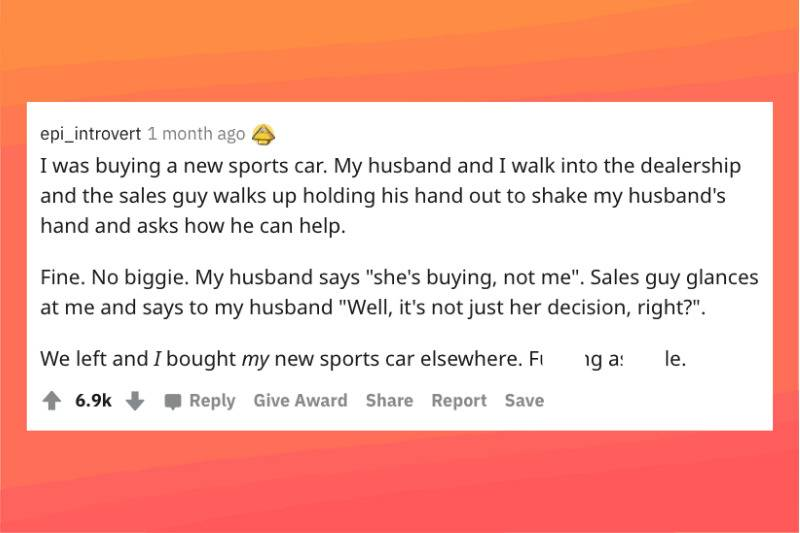 salesman rude to woman trying to buy sports car