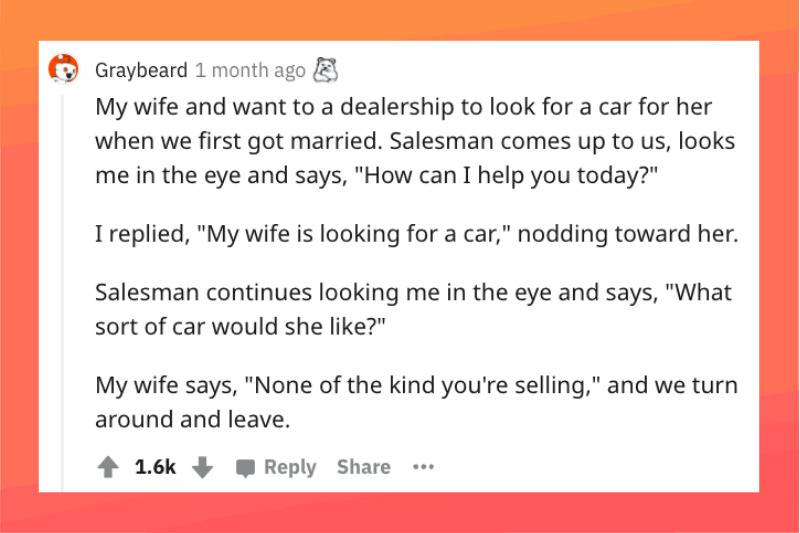 car salesman ignoring wife even though she's standing right next to husband
