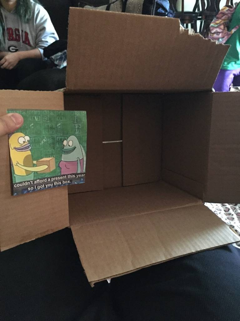 sister who gave sibling a box for christmas because she couldn't afford anything else