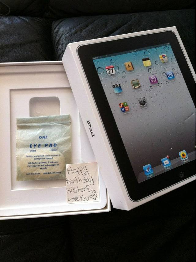 sister give's sister ipad box with one single