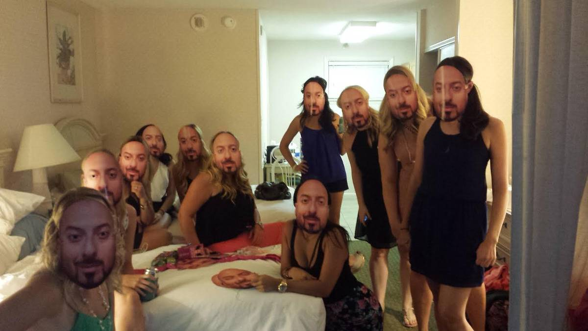 masks made out of fiance's face for everyone at sister's bachelorette party to wear