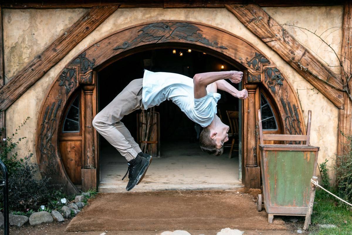 man doing a backflip