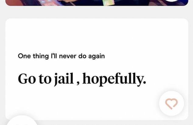 prompt: one thing I'll never do again. Man says: Go to jail, hopefully