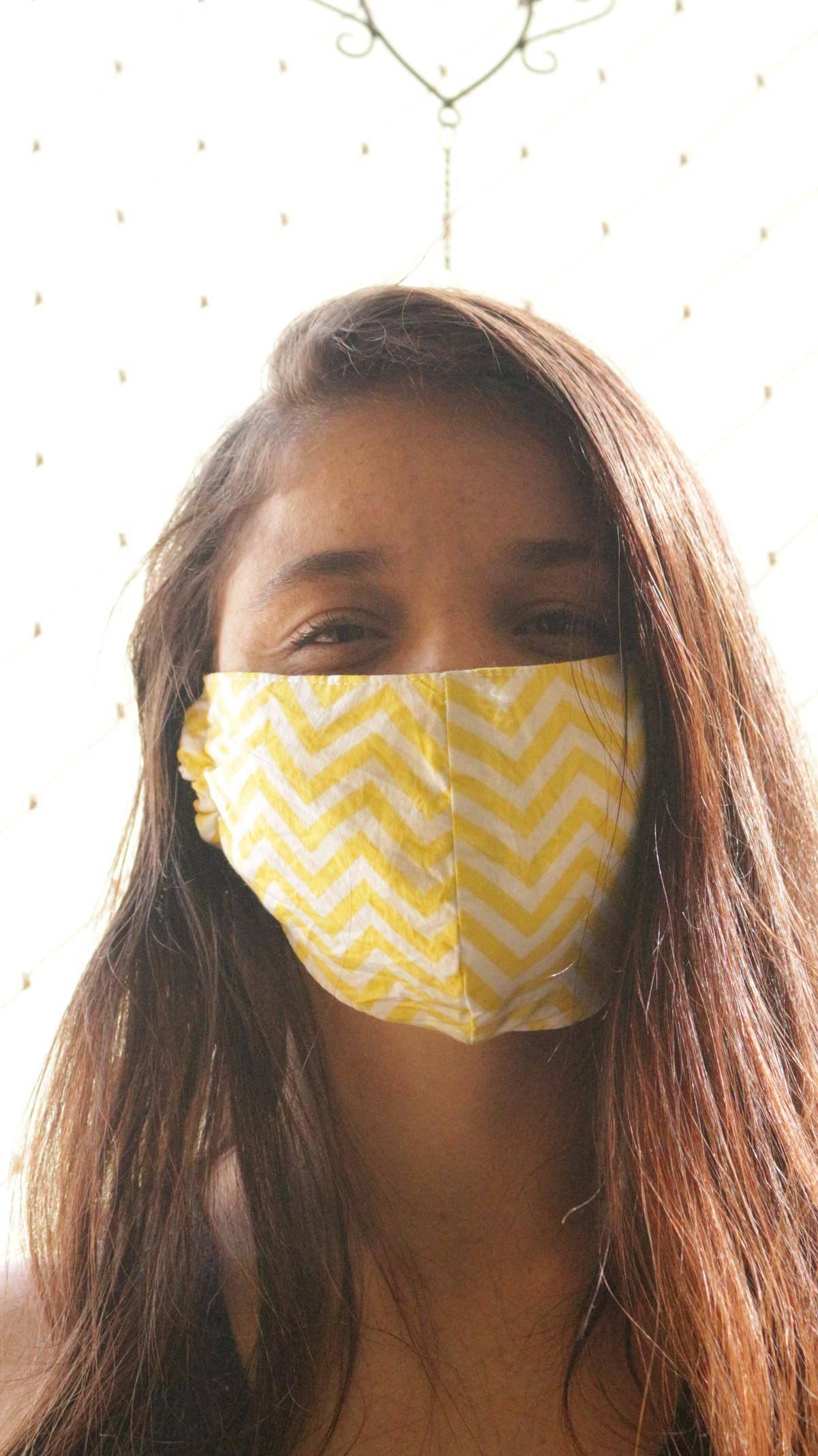 woman wearing reusable mask