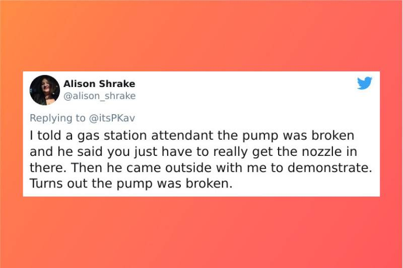 gas station attendant tried to prove that pump wasnt broken but it was