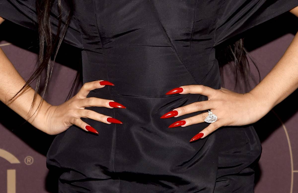 Cardi B, ring and nail details, as she attends the Warner Music Group Pre-Grammy Party in association with V Magazine