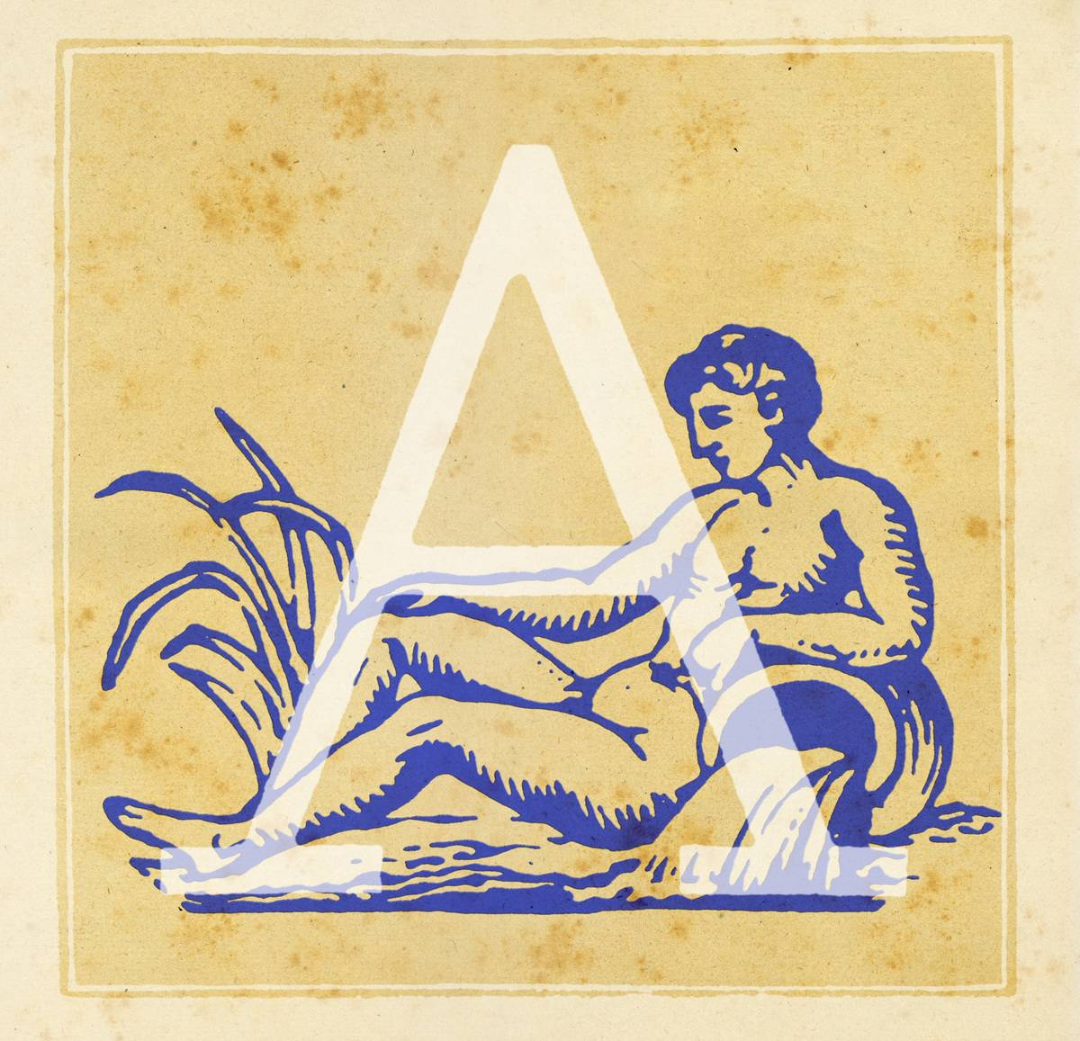 Capital letter A with Aquarius zodiac sign