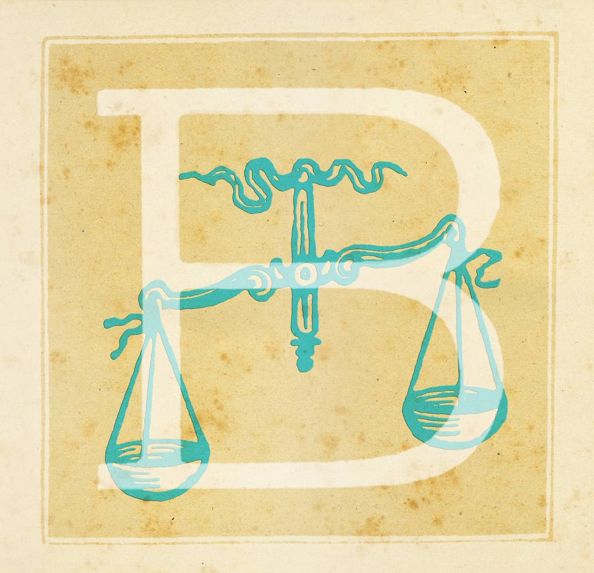 Capital letter B with the Balance Zodiac sign