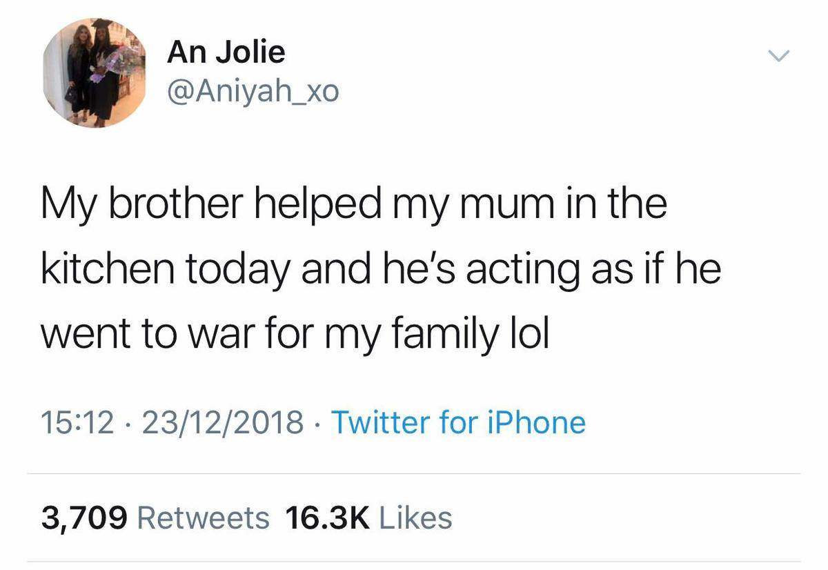 brother helped mom in the kitchen