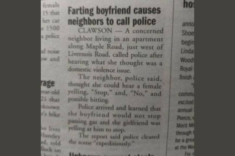 newspaper story about the cops being called because of a farting boyfriend