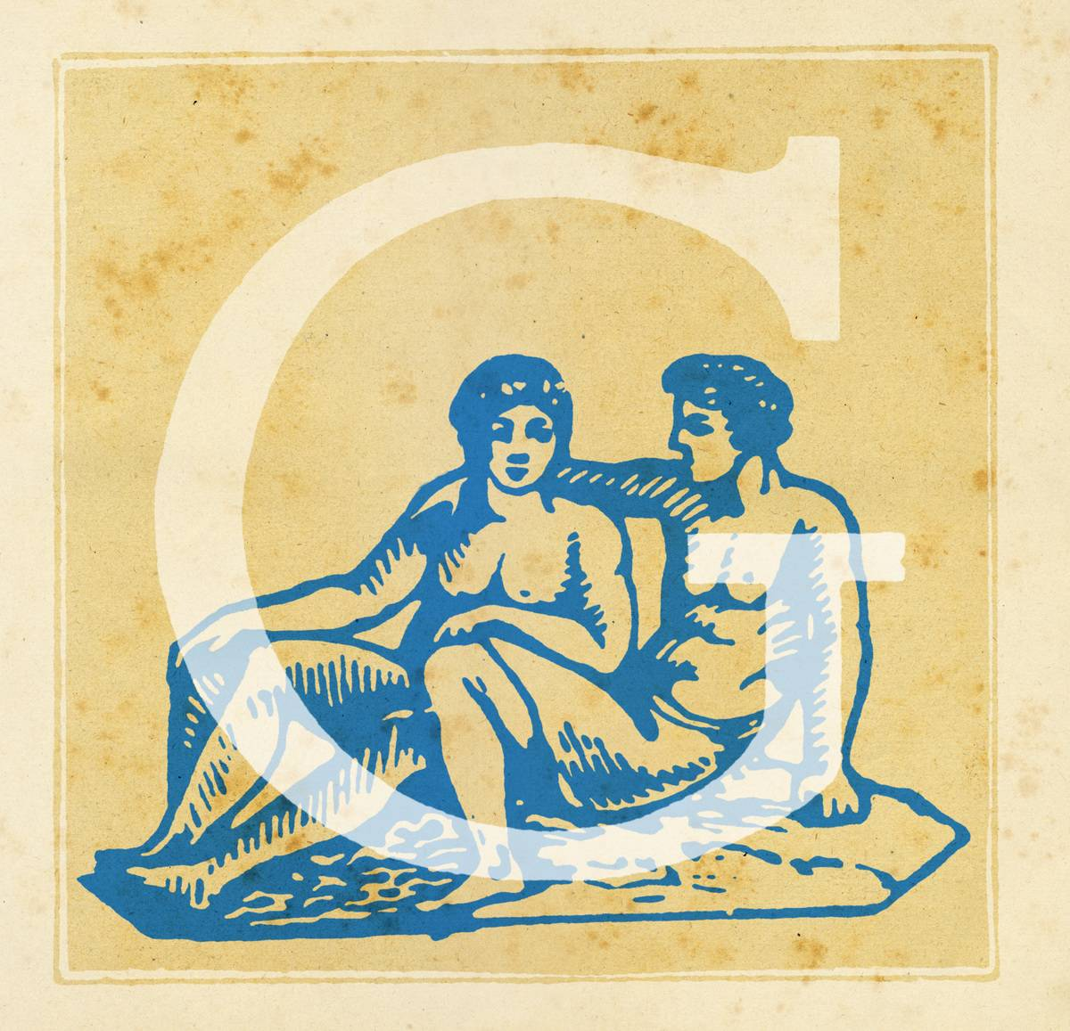 Capital letter G with zodiacal sign of the Gemini - the twins