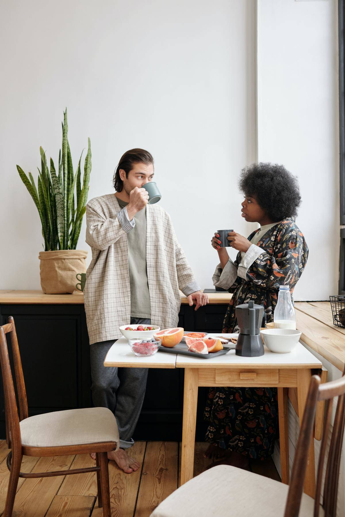 couple having serious conversation over coffee