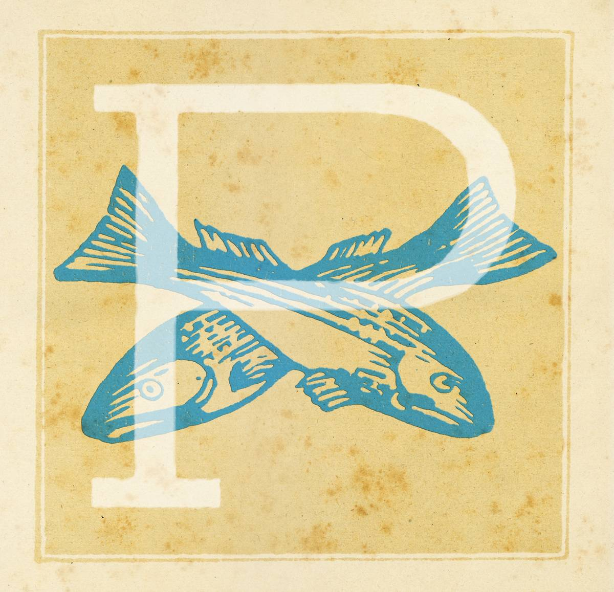 Capital letter P with Zodiacal sign Pisces