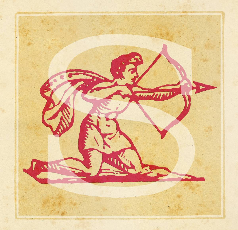 Capital S with Sagittarius Zodiac sign