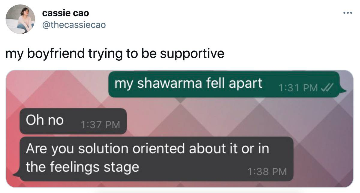 first person: my shawarma fell apart second person: oh no, are you solution oriented about it or in the feelings stage?