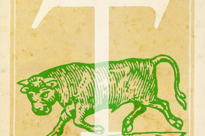 Capital letter T with a bull behind it - the zodiac sign of Taurus